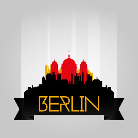 incredible: an isolated cityscape with the silhouette of the berlin cathedral