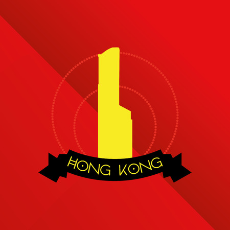 incredible: a red background with a famous building in hong kong