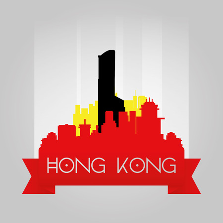 famous building: an isolated cityscape with a famous building in hong kong