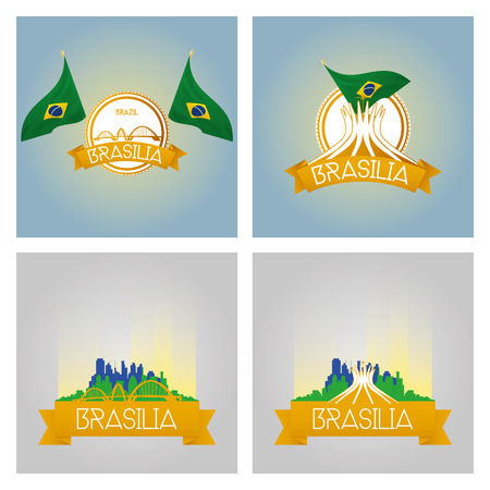 brasilia: a set of labels and cityscapes with famous places in brasilia Illustration