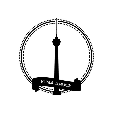 incredible: an isolated label with the silhouette of the kuala lumpur tower