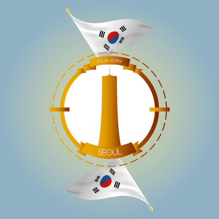 seoul: an isolated label with south korean flags and the 63 building in seoul Illustration