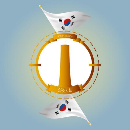 seoul: une �tiquette isol� avec des drapeaux sud-cor�en et le b�timent 63 � S�oul Illustration