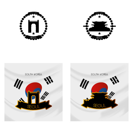 ünlü yer: a set of labels and backgrounds with famous places in seoul Çizim