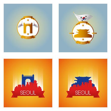 seoul: un ensemble d'�tiquettes et de paysages urbains avec des endroits c�l�bres de S�oul