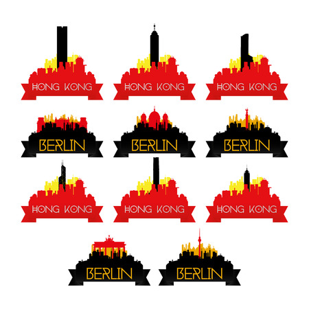 east berlin: a set of cityscapes with famous places in hong kong and berlin