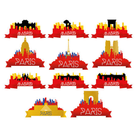 famous places: a set of cityscapes with famous places in paris and madrid