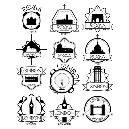 black maria: a set of labels with famous places in rome and london Illustration