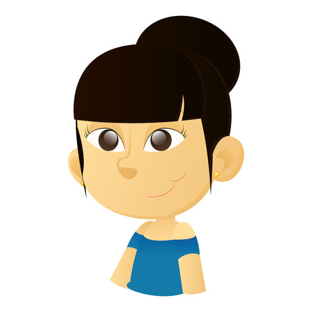 brown eyes: an isolated happy asian girl with brown eyes on a white background