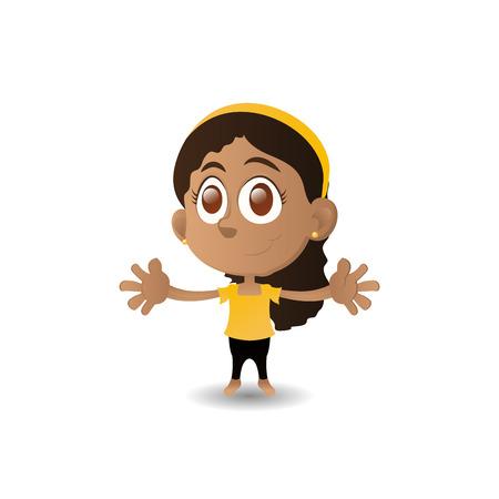 olhos castanhos: uma menina feliz isolado com olhos marrons em um fundo branco