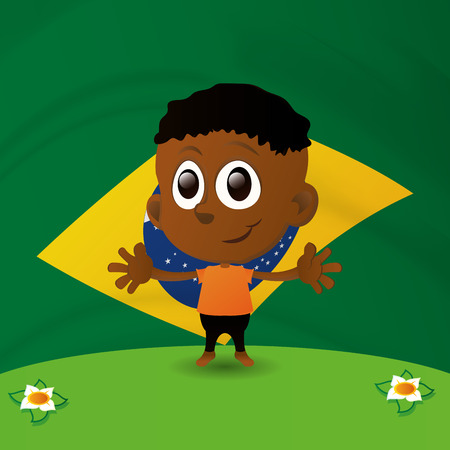 brazilian flag: a happy brazilian boy in a colored background with the brazilian flag