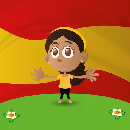 interracial: una ni�a feliz aislados con la bandera de Espa�a en el fondo