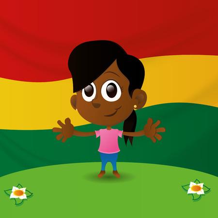 niños de diferentes razas: una niña feliz aislados con la bandera de Ghana en el fondo