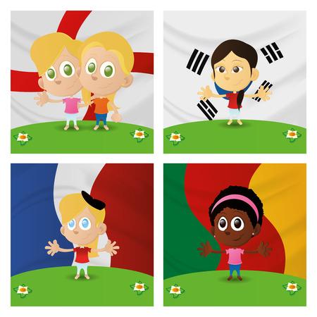 ni�os de diferentes razas: un conjunto de ni�os felices con diferentes banderas en los fondos Vectores