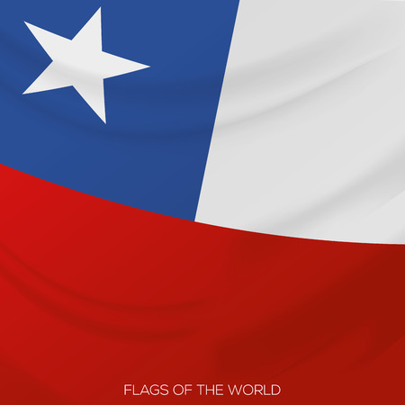 visions of america: vector illustration of a close up view on the flag of chile Illustration