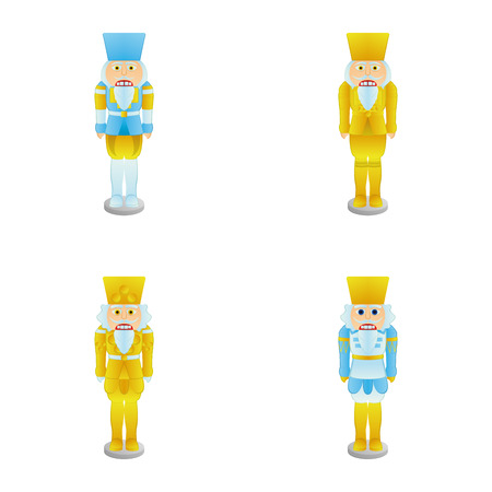 nutcracker: a set of nutcracker soldiers on a white background Illustration
