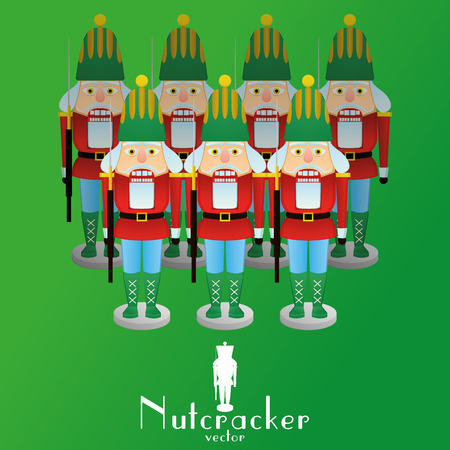 nutcracker: a set of nutcracker soldiers on a green background Illustration