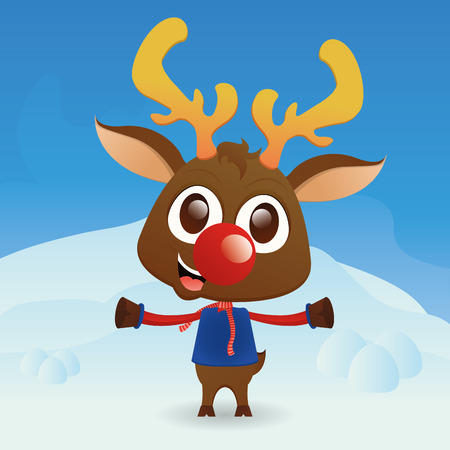 winter clothes: a beautiful reindeer with winter clothes on a winter background