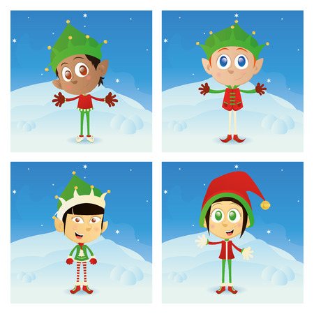 winter clothes: a set of different christmas elfs with different winter clothes Illustration
