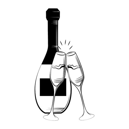 pair of glasses: a pair of wine glasses and a wine bottle for a celebration