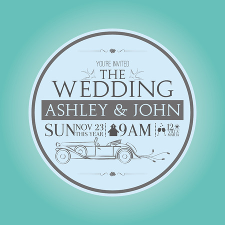 a blue background with a white invitational wedding card Vector