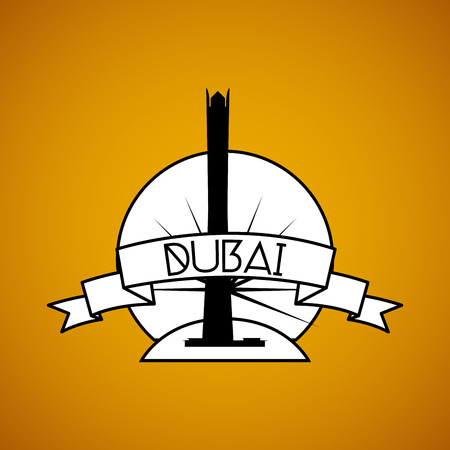 an isolated label with the silhouette of the burj al alam
