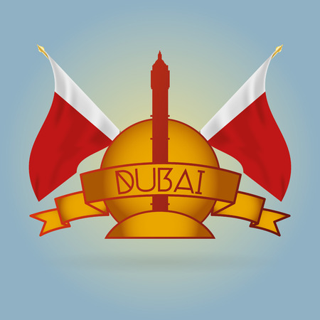 incredible: an isolated label with some flags and the al yaqoub building in dubai