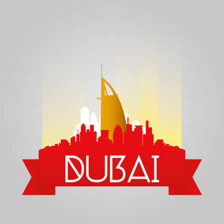 al: an isolated cityscape with the burj al arab bulding Illustration