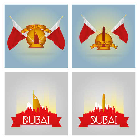 famous places: a set of labels and cityscapes with famous places in dubai