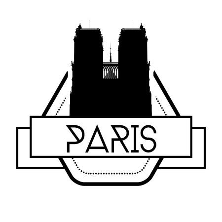 een etiket geïsoleerd met een zwart silhouet van de Notre Dame Stock Illustratie