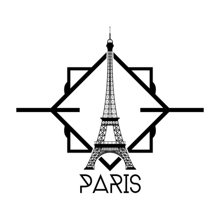 incredible: an isolated label with a black silhouette of the eiffel tower