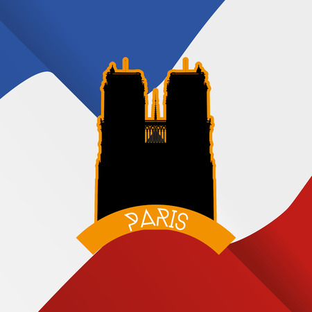 dame: a colored background with a black silhouette of notre dame and text