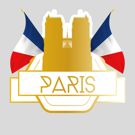 dame: an isolated golden label with a pair of french flags and the notre dame
