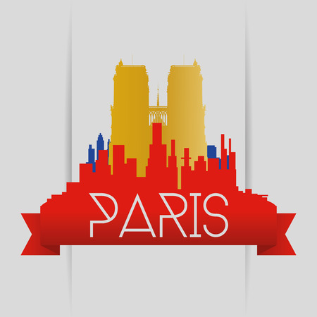dame: a colored skyline of paris with a golden silhouette of notre dame Illustration