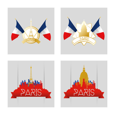 skylines: a set of labels and skylines of paris with silhouettes of famous places Illustration