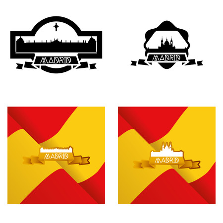 a set of labels anda backgrounds with famous places in madrid Vector