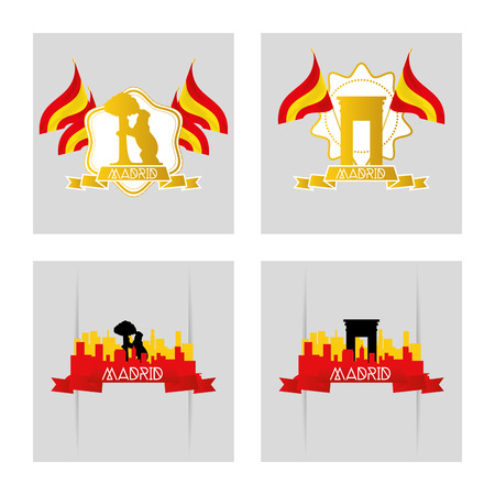 winning location: a set of labels and backgrounds with famous places in madrid
