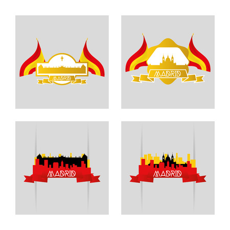 incredible: a set of labels and backgrounds with famous places in madrid