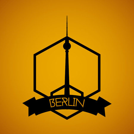 tv tower: a yellow background with the silhouette of the berlin tv tower Illustration