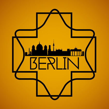winning location: a yellow background with a cityscape of berlin