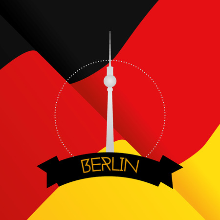 tv tower: a colored background with the german flag and the berlin tv tower Illustration