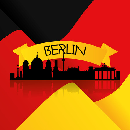 a colored background with the german flag and a cityscape of berlin Vector