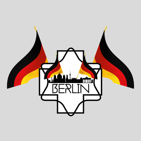 winning location: an isolated label with a cityscape of berlin and german flags