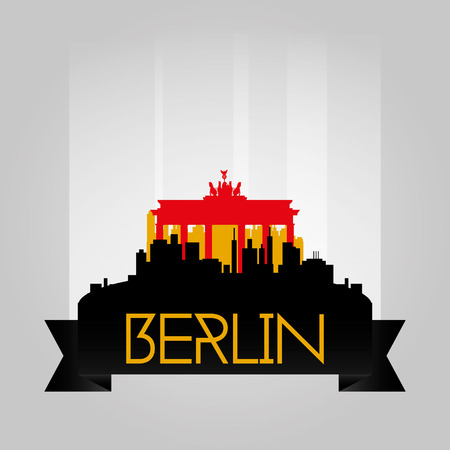 brandenburg: an isolated cityscape with the silhouette of the brandenburg building Illustration