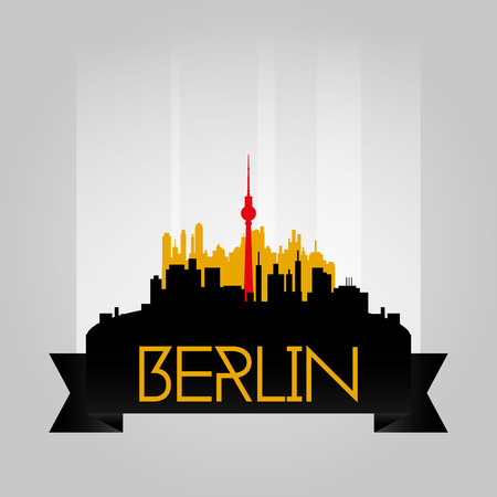 an isolated cityscape with the silhouette of the berlin tv tower