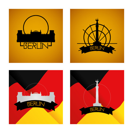 winning location: a set of labels and backgrounds with famous places in berlin