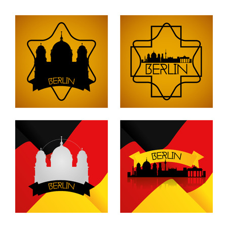 a set of labels and backgrounds with famous places in berlin Vector