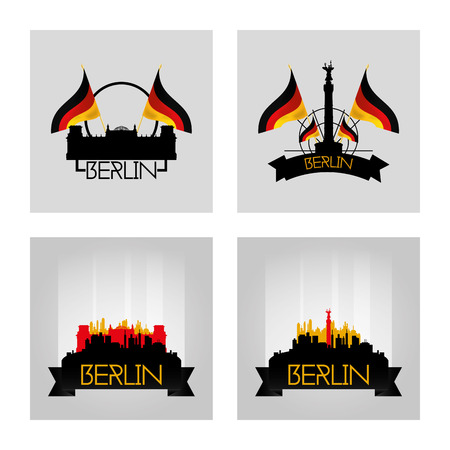 winning location: a set of labels and cityscapes with famous places in berlin Illustration