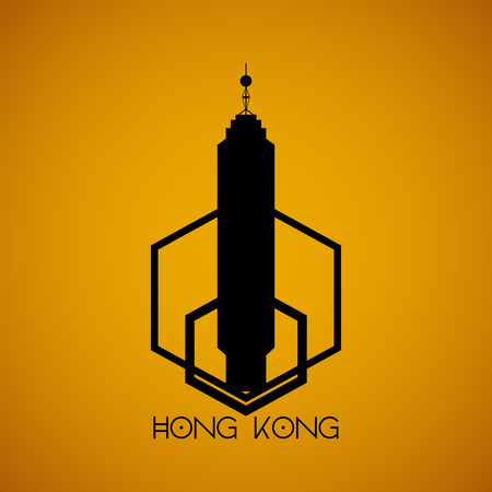 incredible: a golden background with the silhouette of the center building in hong kong Illustration