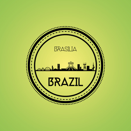 brasilia: an isolated label with a cityscape of brasilia Illustration